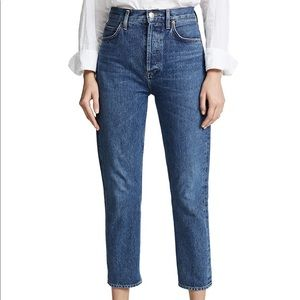 AGOLDE Riley High Rise Straight Crop Blue Size 28